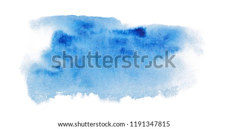 Spot of painted watercolor color in blue on a white background, hand drawing. Blue spot with watercolor with blue spots #1191347815