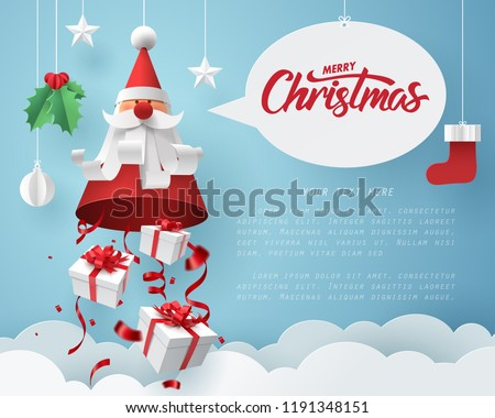 Paper art of Gift box dropping from Santa Claus, merry Christmas and happy new year celebration concept, vector art and illustration.