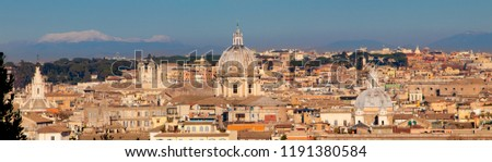 Cityscape of the Rome italy in the sunny day. View from the Gianicolo Janiculum hill. #1191380584