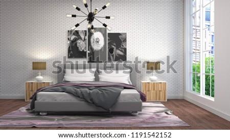 Bedroom interior. 3d illustration #1191542152