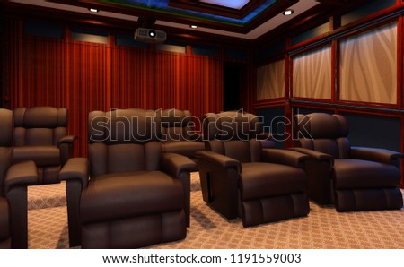 3D rendering of a home theater interior #1191559003