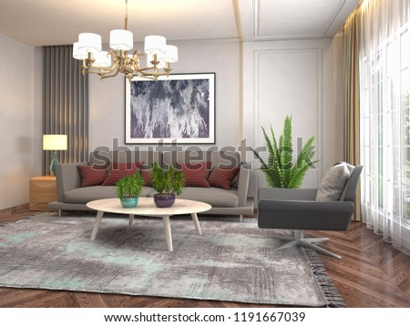 Interior of the living room. 3D illustration #1191667039