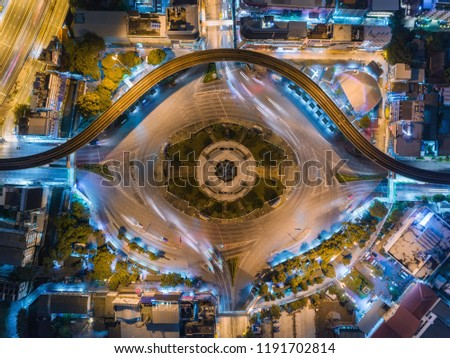 Highway road intersection at Victory monument in bangkok for transportation, distribution or traffic background. #1191702814