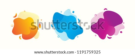 Set of abstract modern graphic elements. Gradient abstract banners with flowing liquid shapes. Dynamical colored forms and line. Template for the design of a logo, flyer or presentation #1191759325