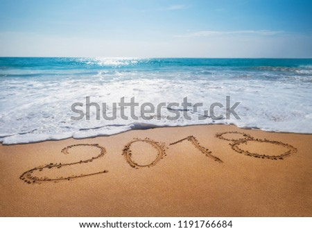 Old Year 2018 expires concept sandy tropical   ocean beach lettering concept image  #1191766684