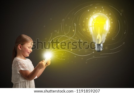 Adorable girl working on tablet with new idea concept #1191859207