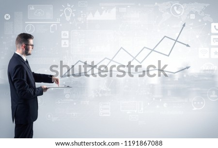 Adviser standing and presenting economical results of a global company #1191867088