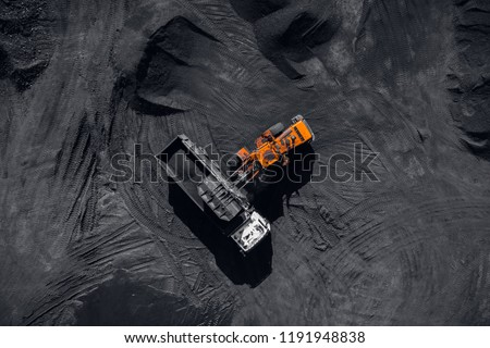 Open pit mine, extractive industry for coal, top view aerial drone #1191948838