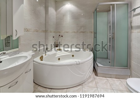 Interior bathroom with Jacuzzi and shower cabin, nobody #1191987694