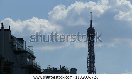Eiffel tower and building  #1192096726