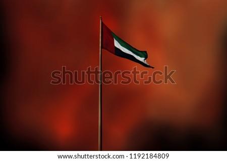United Arab Emirates flag flying in grunge background #1192184809