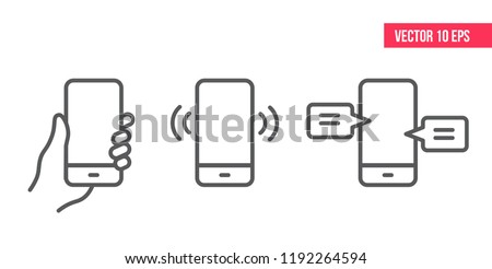 Mobile Phone Line Icon Smartphone with white screen vector eps10.