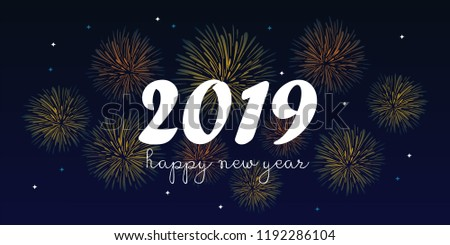2019 happy new year greeting design vector illustration with hand drawn fireworks. #1192286104