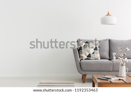 Flowers on wooden table and grey settee in white living room interior with copy space. Real photo Royalty-Free Stock Photo #1192353463