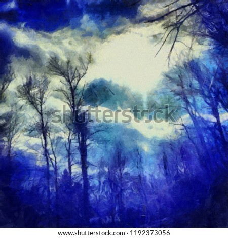 Oil painting. Art print for wall decor. Acrylic artwork. Big size poster. Watercolor drawing. Modern style fine art. Beautiful charming forest landscape. Trees without leaves. Dark blue sky. #1192373056