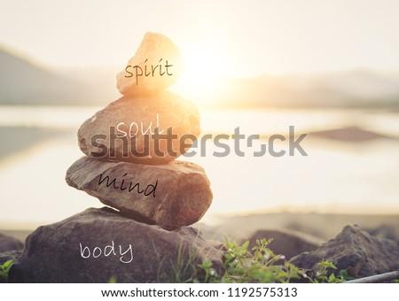 Holistic health concept of zen stones / Concept body, mind, soul, spirit,  #1192575313