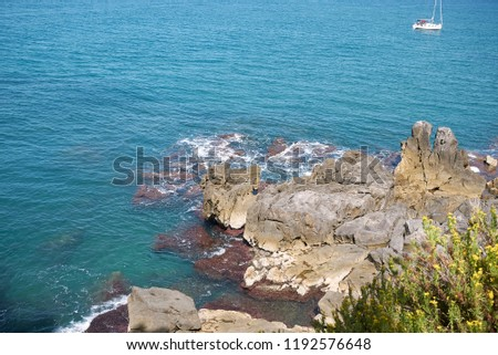 Cefalu, Italy - September 09, 2018: View of the sea from Bastione di Capo Marchiafava #1192576648