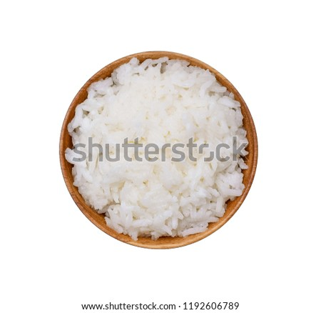 rice in wooden bowl on white background #1192606789
