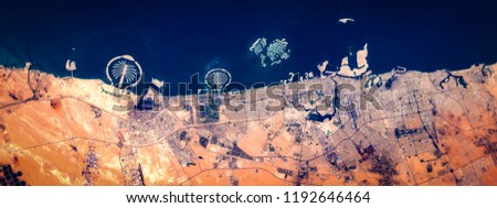 High resolution satellite image of Dubai, coast from above, United Arab Emirates, aerial view, natural background texture, contains modified Copernicus Sentinel data [2018]