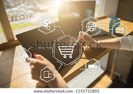 E-commerce. Internet shopping. Online purchase. Business, internet and technology concept. #1192721803
