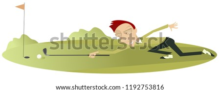 Smiling golfer on the golf course illustration. Smiling golfer aiming to do a good kick illustration