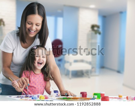 Happy family kid mom babysitter parent teacher #1192852888
