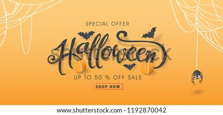 "Happy Halloween sale banners or party invitation background.Vector illustration .calligraphy of ""halloween"""