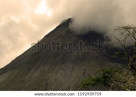 Beautiful shots of mountains, volcano, rainforest, trees, castle and houses in Costa Rica #1192939759