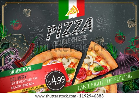 Savoury pizza ads with 3d illustration rich toppings dough on engraved style chalk doodle background #1192946383