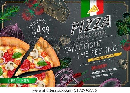 Savoury pizza ads with 3d illustration rich toppings dough on engraved style chalk doodle background #1192946395