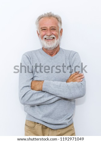 Portrait of healthy happy smile senior elderly caucasian old man face with arm crossed isolated on white. Golden age grand father healthcare cheerful lifestyle, freedom relax retirement concept  #1192971049