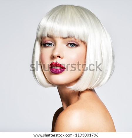 Fashion Stylish  Portrait with White Short Hair. Beautiful Girl's Face with Haircut. Hairstyle. Fringe. Professional Makeup. Make-up.  Fashion portrait of woman with bob hairstyle. Vogue Style Woman. #1193001796