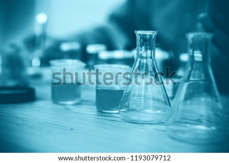 STEM education Laboratory beakers.Science experiment concept background. #1193079712