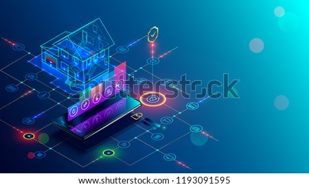 Smart home with internet of things isometric concept. IOT technology in house automation design. Smartphone for wireless control of household appliances via internet. Protection house infrastructure. Royalty-Free Stock Photo #1193091595