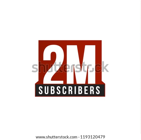 Subscribers number vector icon. Anniversary logo template. Greeting card design element. Simple numbers of followers emblem. Red strict style isolated vector illustration on white background. #1193120479