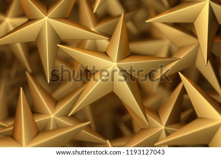 3d rendering: Background of Golden Christmas Stars in several Layers with depth of field effect #1193127043