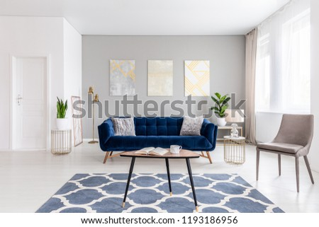 Open space living room interior with modern furniture of a navy blue settee, a beige armchair, a coffee table and other objects in gold color. Real photo. #1193186956