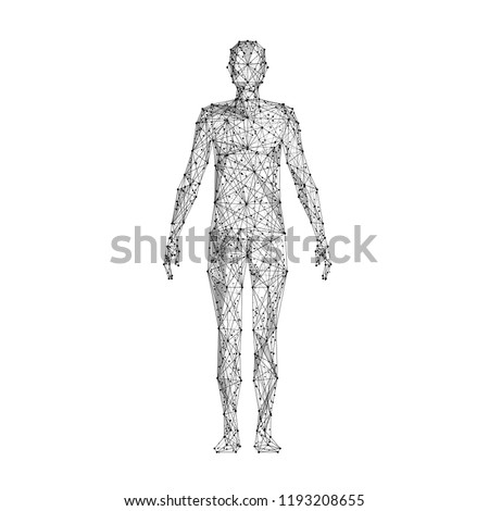 Human body. Isolated black vector illustration in low-poly style on a white background. The drawing consists of thin lines and dots. Polygonal image on topics of science or medicine. Low poly EPS. Royalty-Free Stock Photo #1193208655