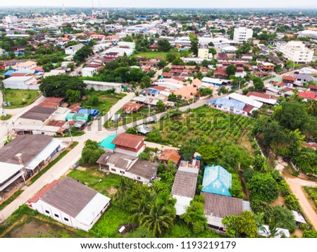 Aerial photo from flying drone over village in Thailand #1193219179