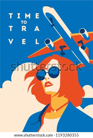 Time to Travel and Summer Holiday poster. Airplane Traveling template poster, badge, vector illustration. Vacation poster with lettering. #1193280355
