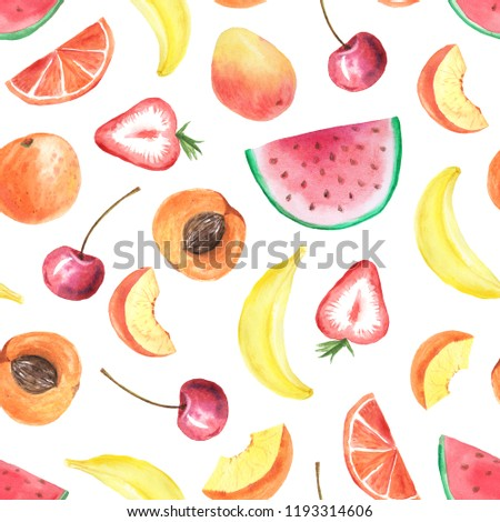 Seamless pattern with isolated watercolor watermelon piece, banana, cherry, mango and orange fruits. Hand painted exotic fruits set. Summer background perfect for fabric textile or wrapping paper #1193314606