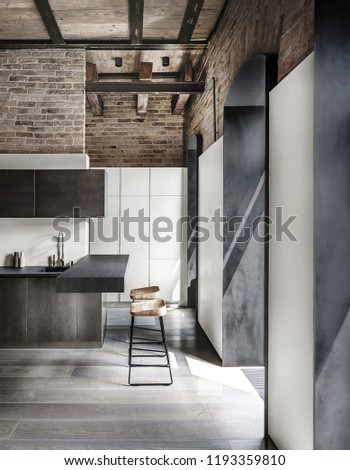 Stylish kitchen in a loft style with brick walls, wooden ceiling and a parquet on the floor. There are metal lockers, dark tabletops with a sink, two bar chairs, white lockers, windows. Vertical. #1193359810