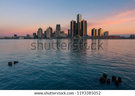 Downtown Detroit skyline from Windsor riverfront at dawn (ON, Canada) #1193385052