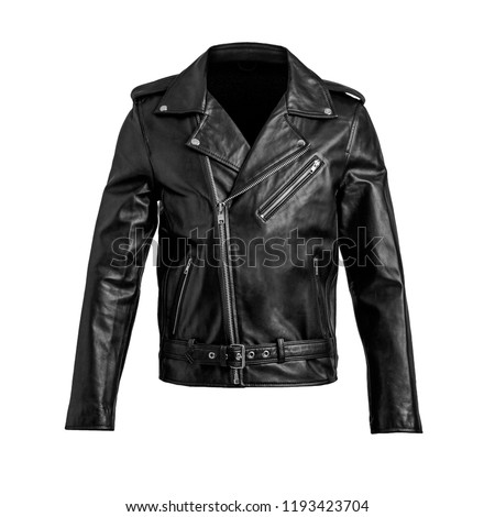 Mens black leather jacket isolated on white background.  Royalty-Free Stock Photo #1193423704