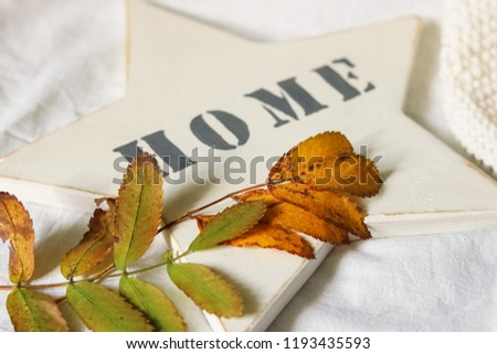 """Yellow leaves on a light background with the inscription """"home"""""""