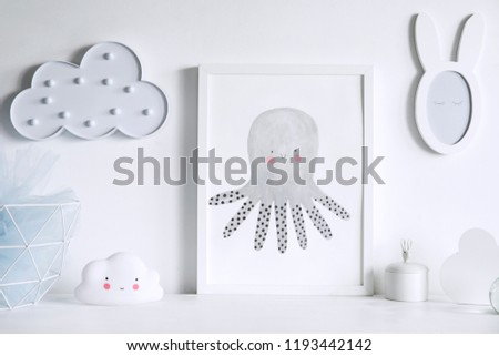 Stylish and cozy childroom with white clouds and little rabbit mirror. Bright and sunny child interior. #1193442142