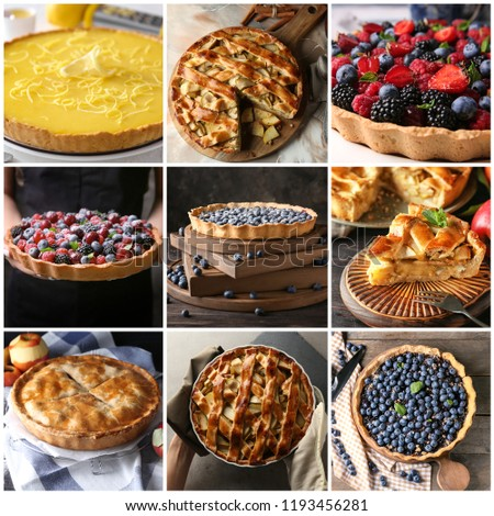 Different tasty fruit pies #1193456281
