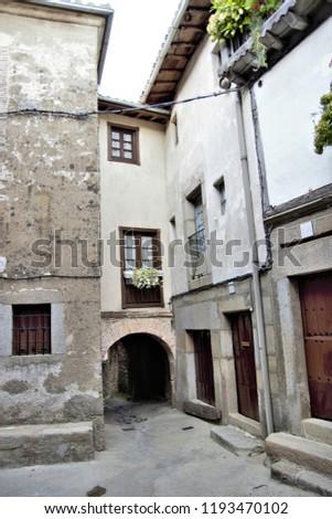 Photography of urban landscape with popular architecture of Castilla, San Martín del Castañar, Salamanca, Spain, #1193470102