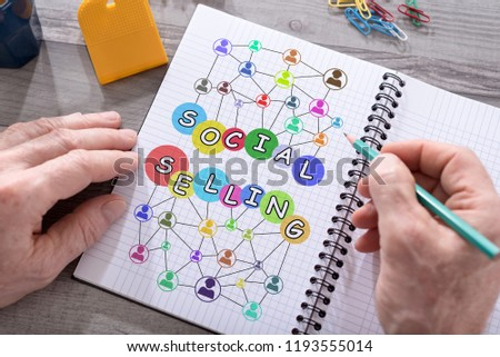 Social selling concept drawn on a notepad placed on a desk #1193555014