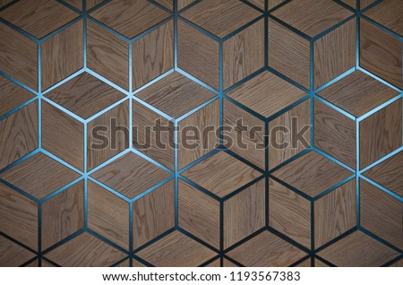 wooden cube background wall. wooden blocks backdrop. volumetric drawing of cubes. Set of the identical cubes forming a uniform plane. #1193567383